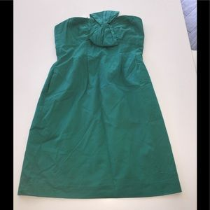 J Crew green strapless cotton cocktail dress 4 new